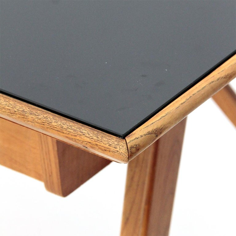Italian Midcentury Desk with Black Glass Top, 1950s For Sale 7