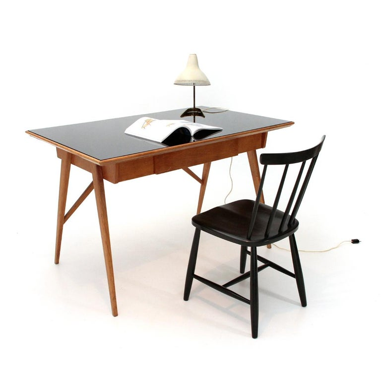 Italian Midcentury Desk with Black Glass Top, 1950s For Sale 8