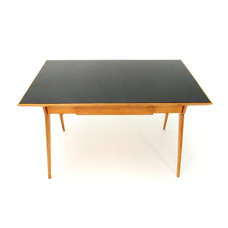 Mid-Century Modern Italian Midcentury Desk with Black Glass Top, 1950s For Sale