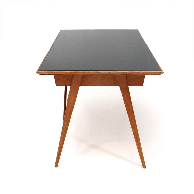 Mid-20th Century Italian Midcentury Desk with Black Glass Top, 1950s For Sale