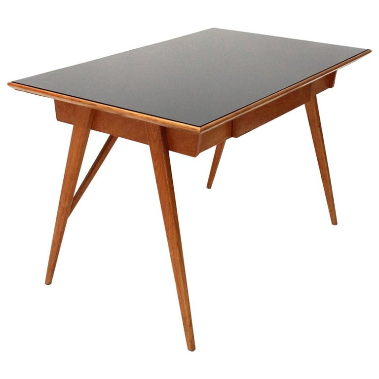 Italian Midcentury Desk with Black Glass Top, 1950s For Sale