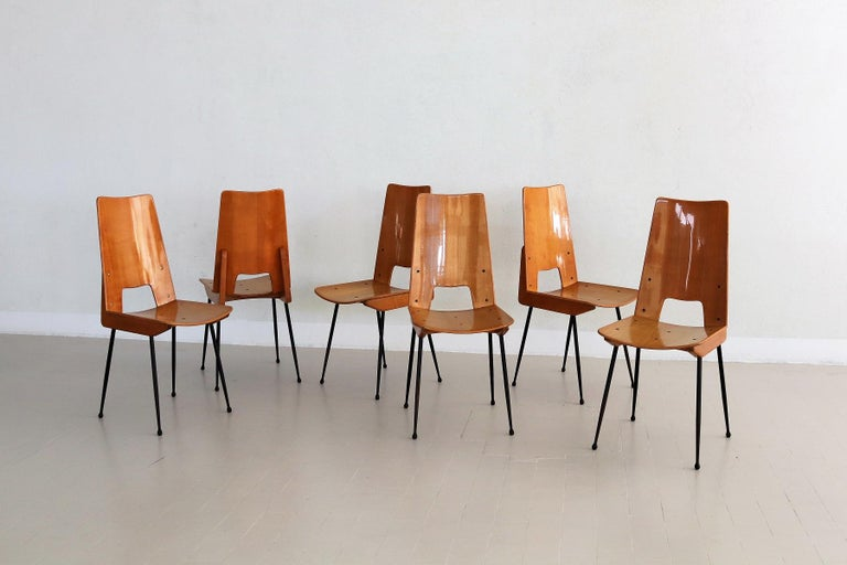 Mid-Century Modern Italian Midcentury Dining Chairs by Carlo Ratti for Legni Curva, 1950s