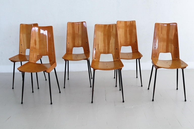 Lacquered Italian Midcentury Dining Chairs by Carlo Ratti for Legni Curva, 1950s