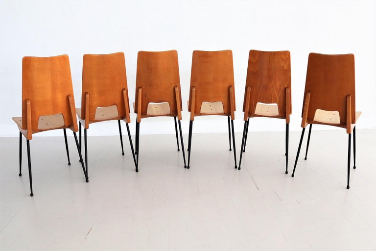 Mid-20th Century Italian Midcentury Dining Chairs by Carlo Ratti for Legni Curva, 1950s