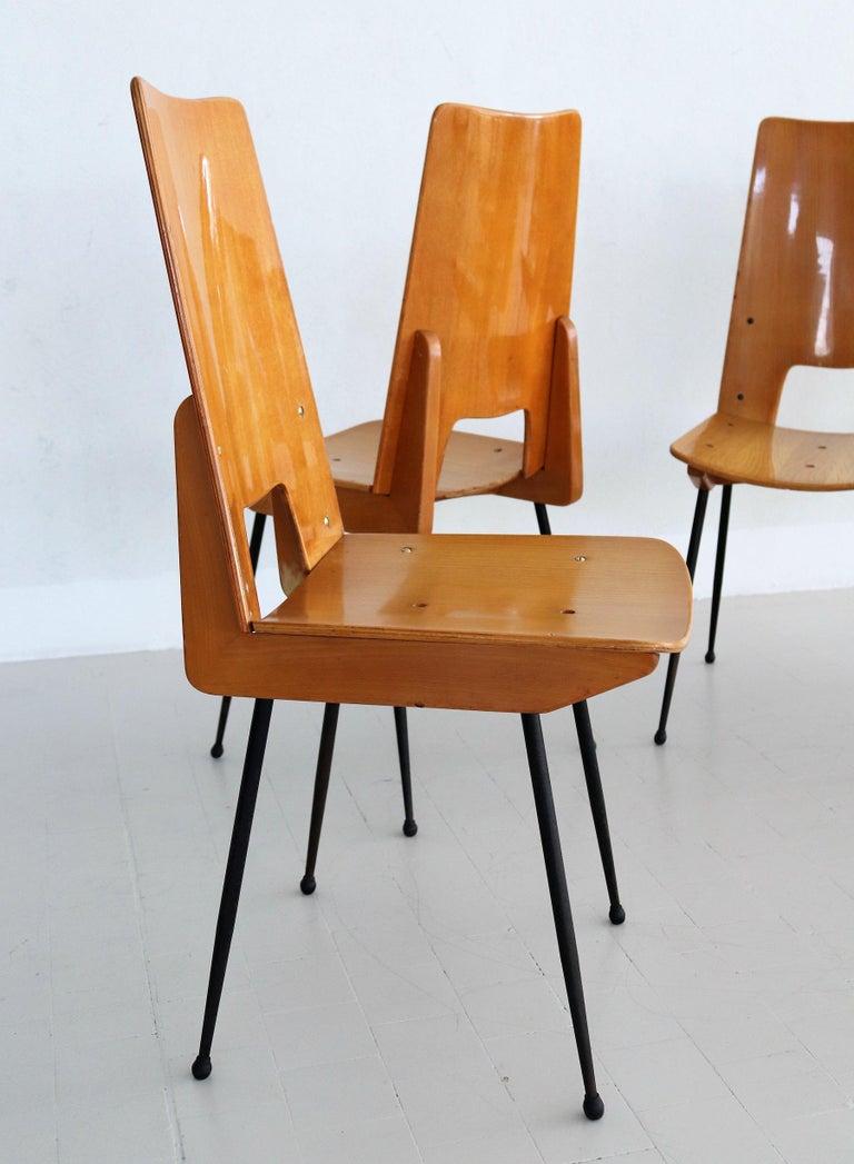 Metal Italian Midcentury Dining Chairs by Carlo Ratti for Legni Curva, 1950s
