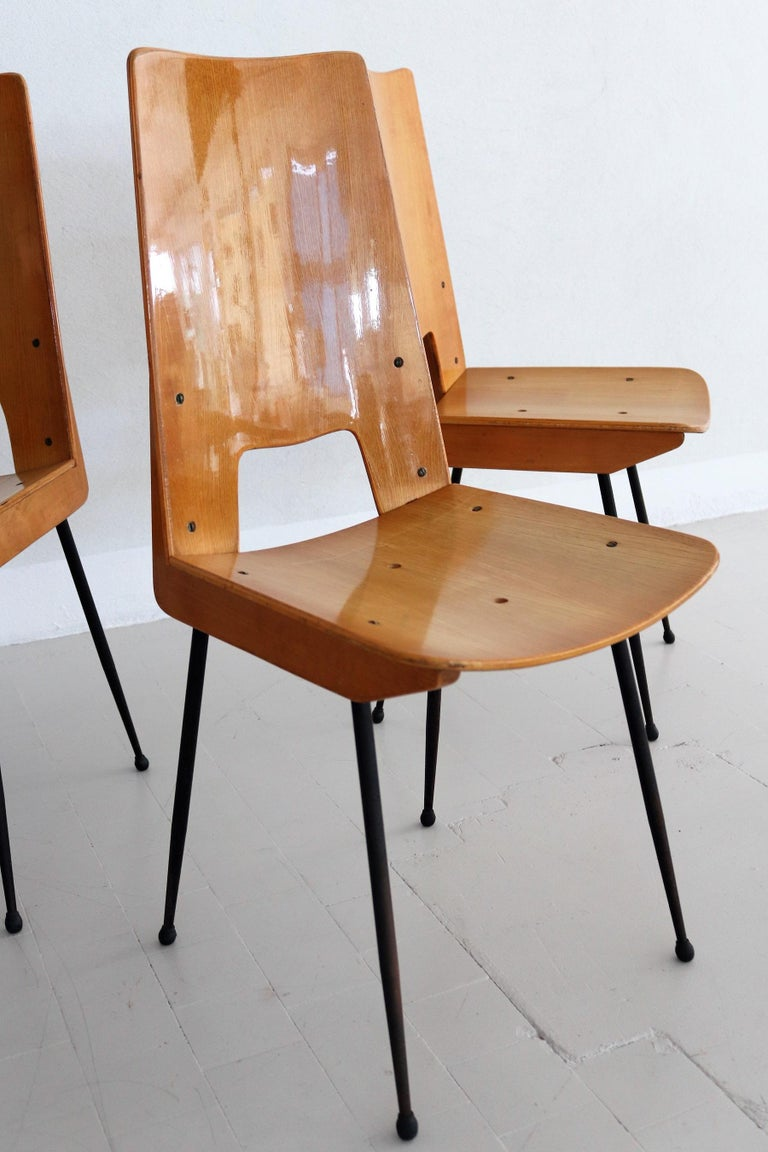 Italian Midcentury Dining Chairs by Carlo Ratti for Legni Curva, 1950s 1