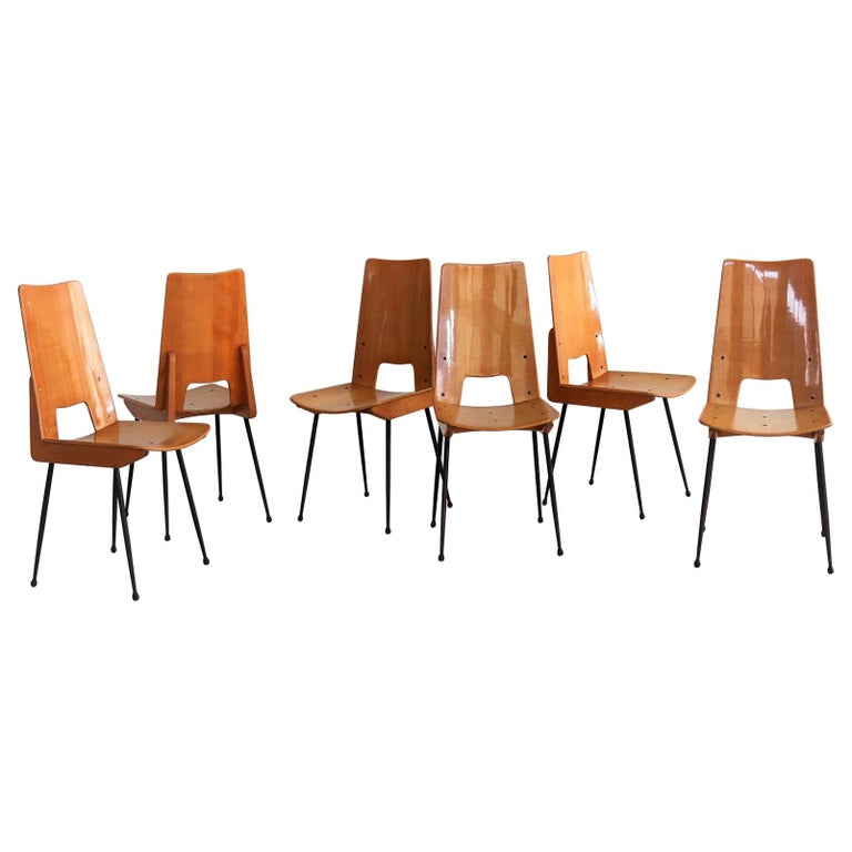 Italian Midcentury Dining Chairs by Carlo Ratti for Legni Curva, 1950s