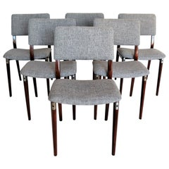 Italian Midcentury Dining Chairs by Eugenio Gerli for Tecno Milano, Set of Six