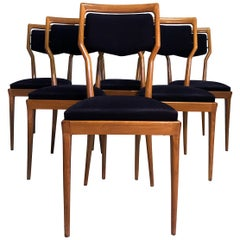 Italian Mid-Century Dining Chairs by Vittorio Dassi, Set of Six, 1950s