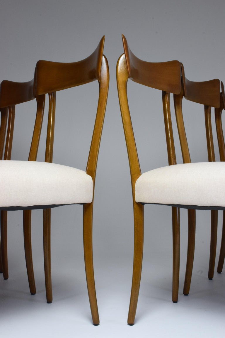 Ebonized Italian Midcentury Dining Chairs, Set of 6, 1950s For Sale