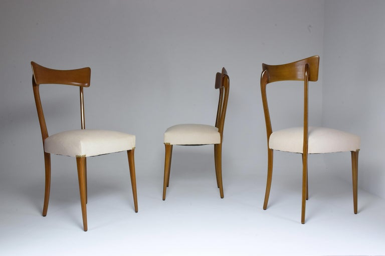 Italian Midcentury Dining Chairs, Set of 6, 1950s In Good Condition For Sale In Paris, FR