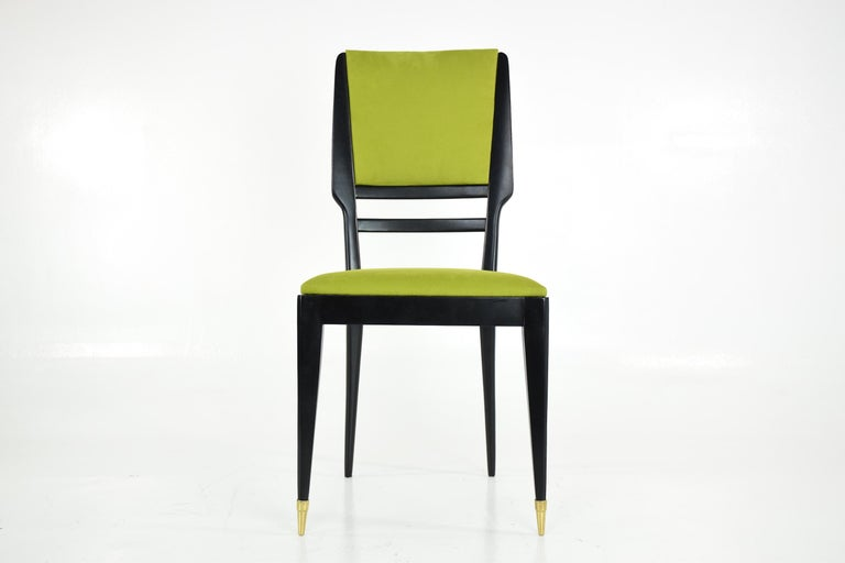 Wood Italian Midcentury Dining Chairs, Set of 6, 1950s For Sale