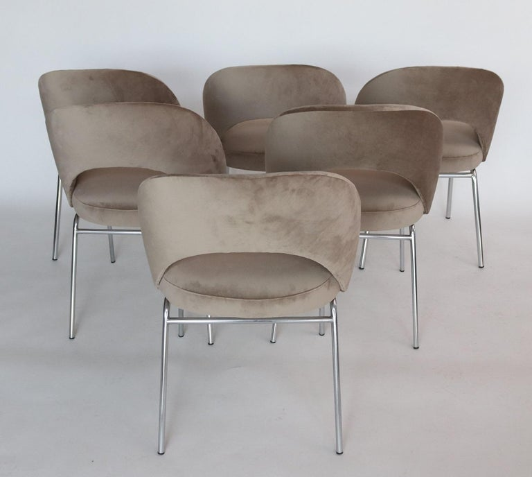 Polychromed Italian Midcentury Dining Chairs Set of Six in Taupe Colored Velvet, 1960s For Sale