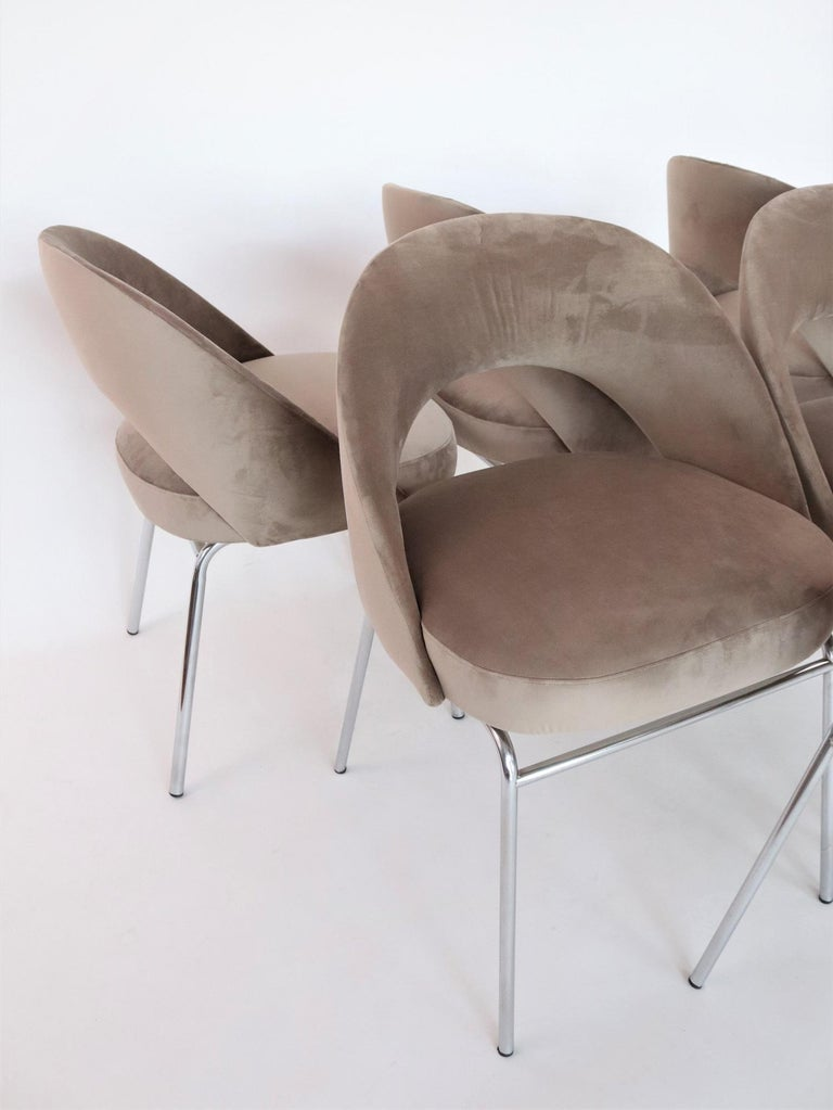 Italian Midcentury Dining Chairs Set of Six in Taupe Colored Velvet, 1960s In Good Condition For Sale In Clivio, Varese