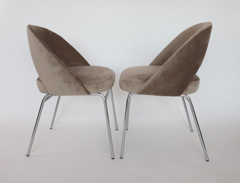 Mid-20th Century Italian Midcentury Dining Chairs Set of Six in Taupe Colored Velvet, 1960s For Sale