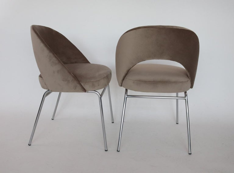 Metal Italian Midcentury Dining Chairs Set of Six in Taupe Colored Velvet, 1960s For Sale