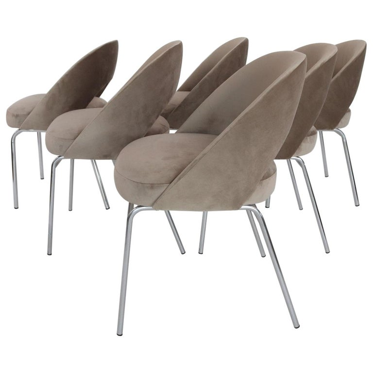 Italian Midcentury Dining Chairs Set of Six in Taupe Colored Velvet, 1960s For Sale