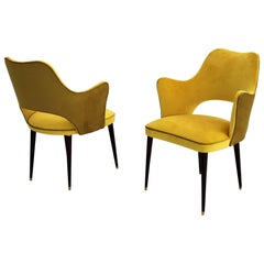 Italian Midcentury Dining or Side Chairs with Bi-Color Upholstery, 1960s