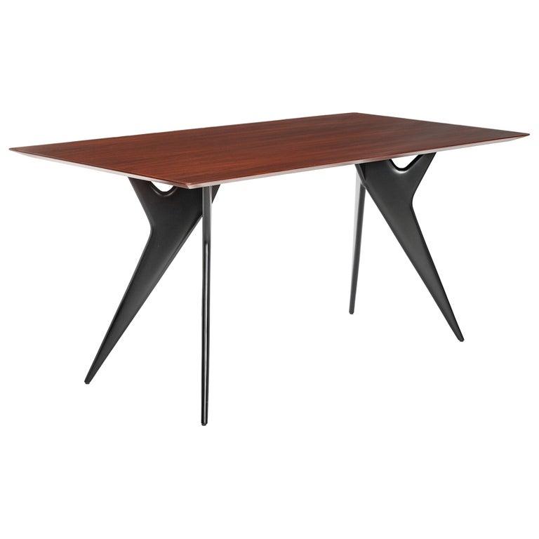 Italian Midcentury Dining Table / Desk Rosewood Wood Veneer by Ico Parisi 1950s For Sale