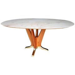 Italian Midcentury Dining Table with Pink Marble and Cherrywood Base, 1950s