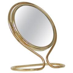 Italian Midcentury Double Sided Brass Vanity Table Mirror, 1950s