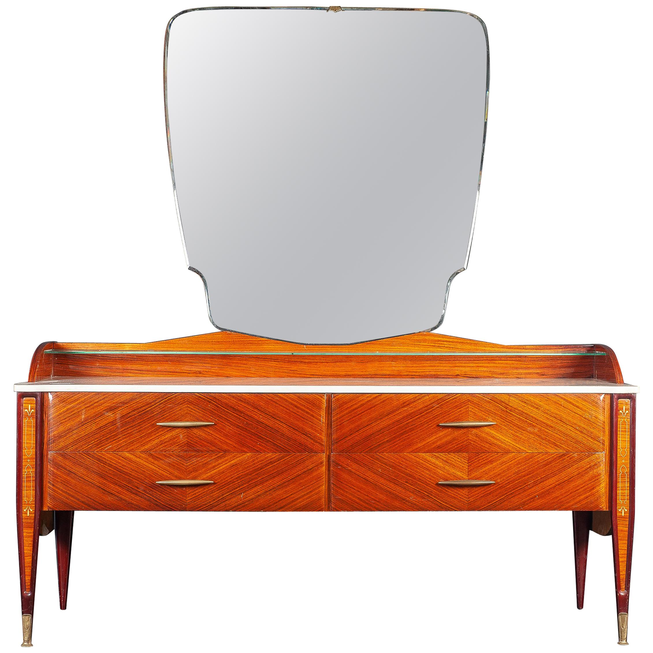 Italian Midcentury Dresser or Chest of Drawer with Carrara Marble Top, 1970