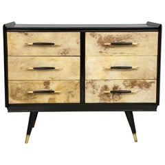 Italian Midcentury Ebonized Parchment Chest of Drawers