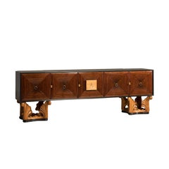 Italian Midcentury Eclectic Five Doors and Leaves Shaped Legs Credenza