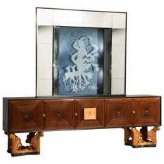 Italian Midcentury Eclectic Mirrored Credenza and Light Blue Illuminated Mirror