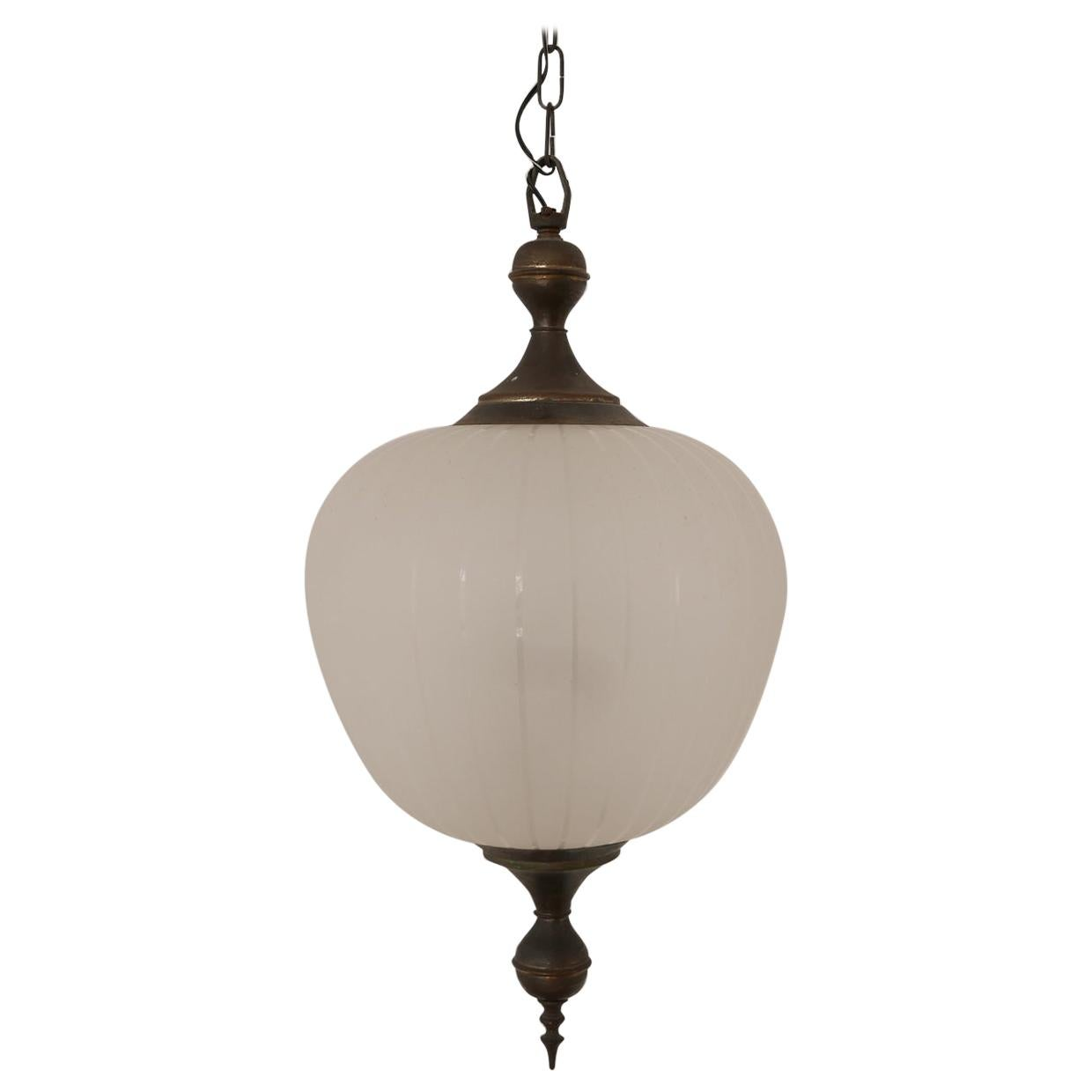 Italian Midcentury Etched Glass Pendant Light
