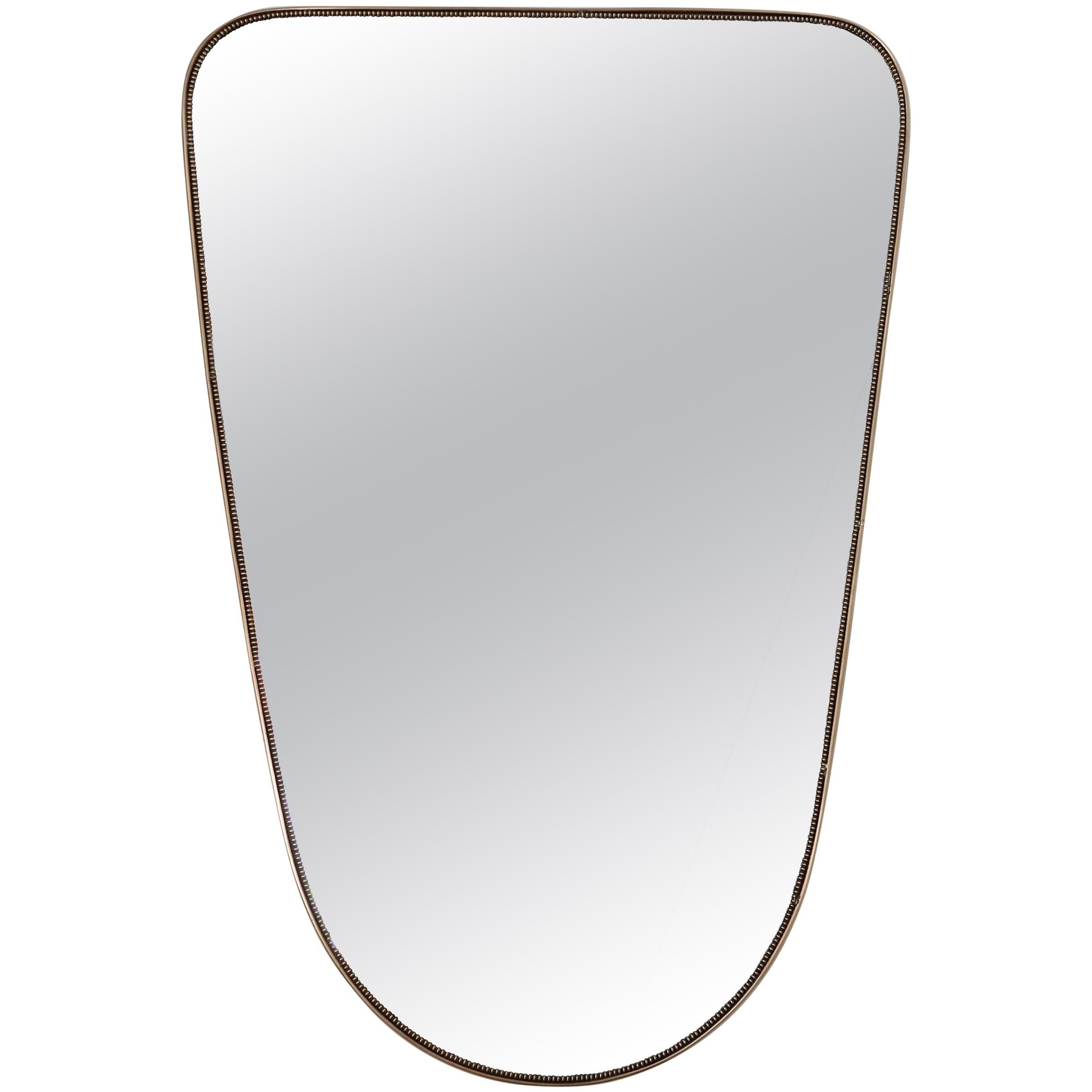 Italian Midcentury Extra Large Vintage Wall Mirror with Brass Frame, 1950s