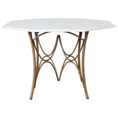 Italian Midcentury Faux Bamboo Marble-Top Dining Table