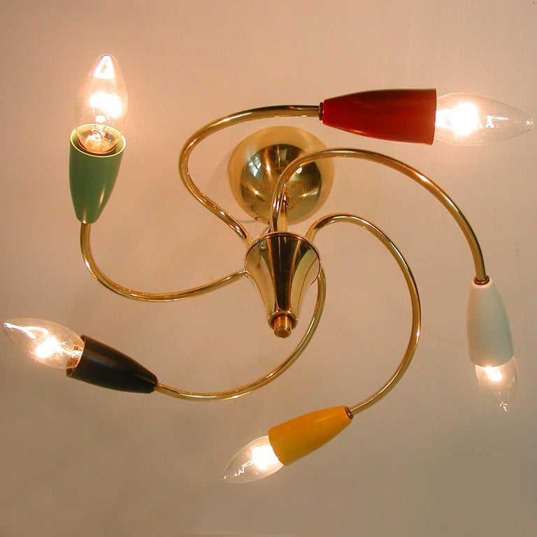 Italian Midcentury Five-Light Multi-Color Flush Mount Chandelier, 1950s For Sale 3