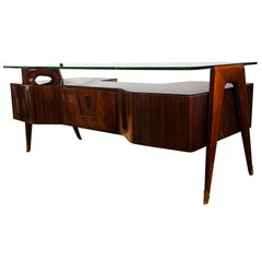 Italian Midcentury Floating Glass Executive Desk by Vittorio Dassi