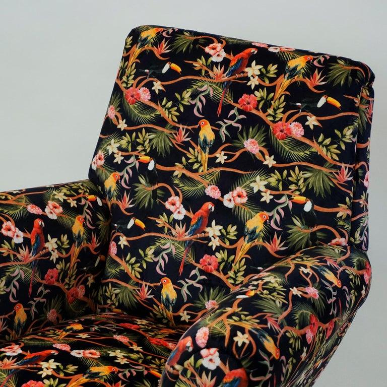 Italian Midcentury Floral Black Velvet Armchair by Gigi Radice for Minotti For Sale 5