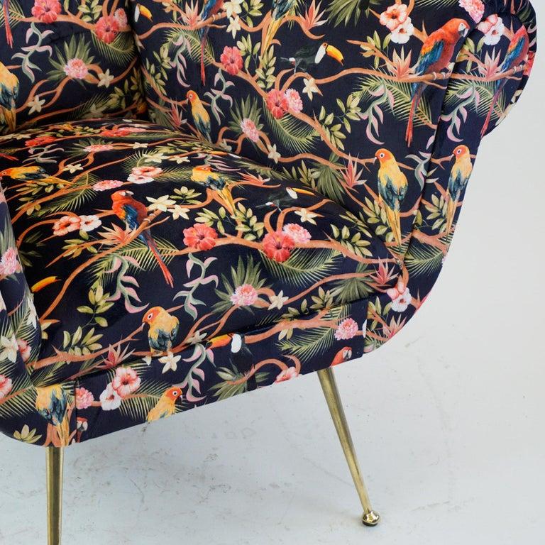 Italian Midcentury Floral Black Velvet Armchair by Gigi Radice for Minotti For Sale 6