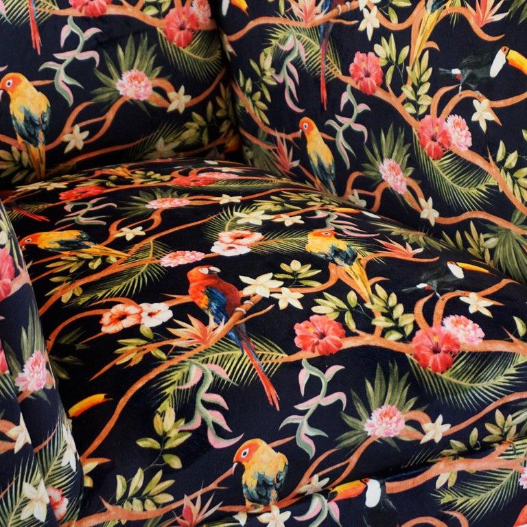 Italian Midcentury Floral Black Velvet Armchair by Gigi Radice for Minotti For Sale 7