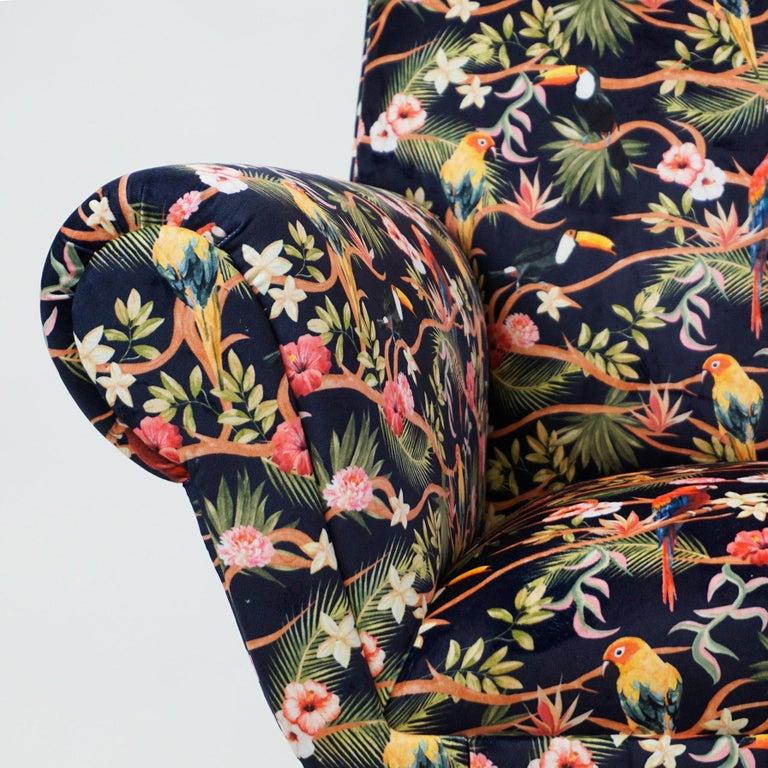 Italian Midcentury Floral Black Velvet Armchair by Gigi Radice for Minotti For Sale 8