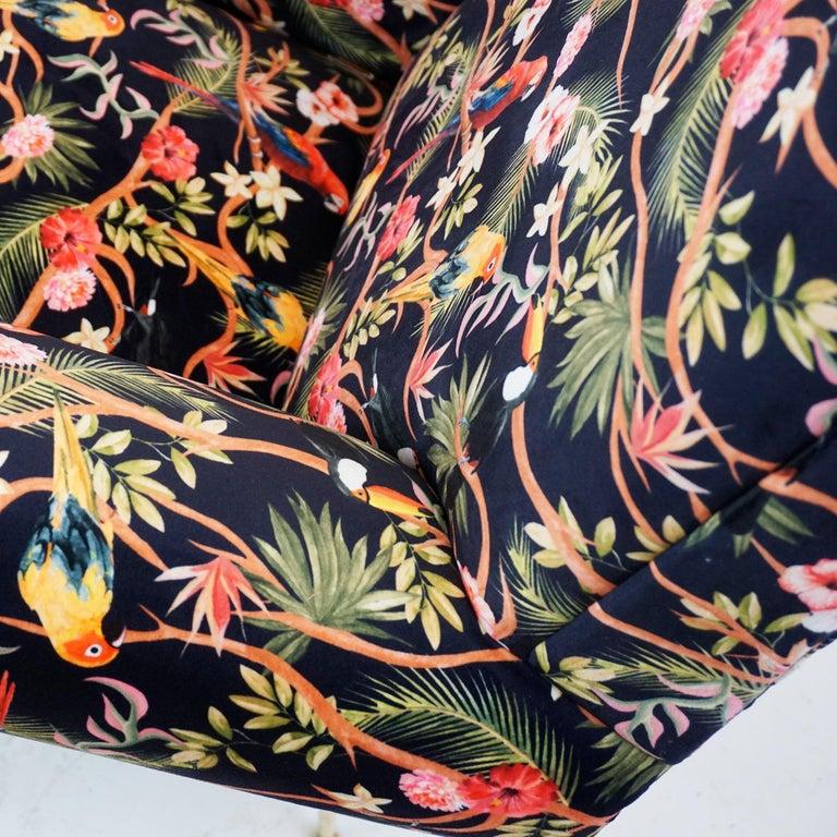 Italian Midcentury Floral Black Velvet Armchair by Gigi Radice for Minotti For Sale 9