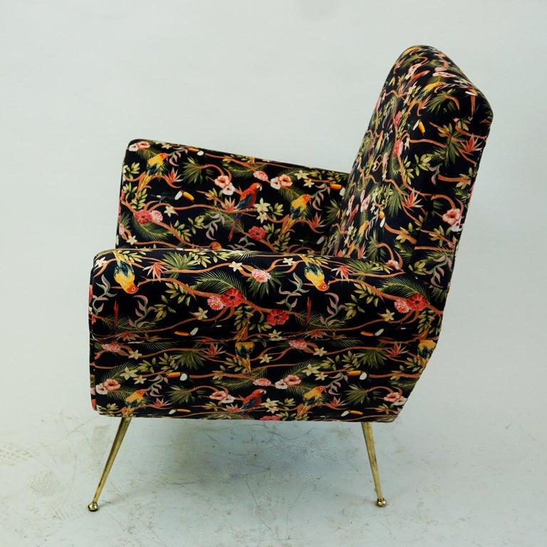 Mid-Century Modern Italian Midcentury Floral Black Velvet Armchair by Gigi Radice for Minotti For Sale