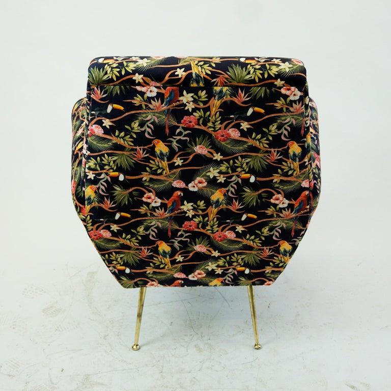 Mid-20th Century Italian Midcentury Floral Black Velvet Armchair by Gigi Radice for Minotti For Sale