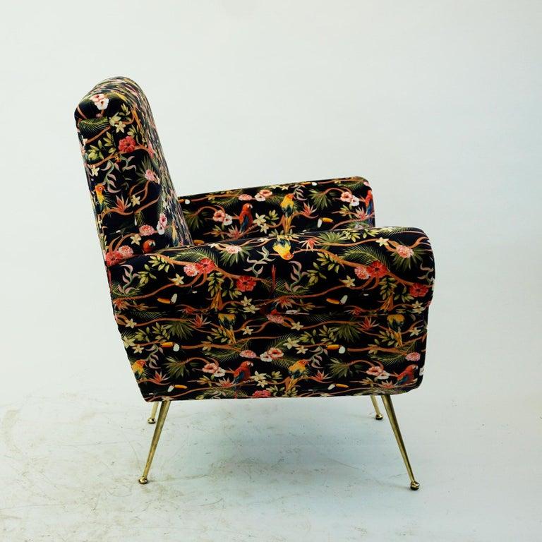 Italian Midcentury Floral Black Velvet Armchair by Gigi Radice for Minotti For Sale 1