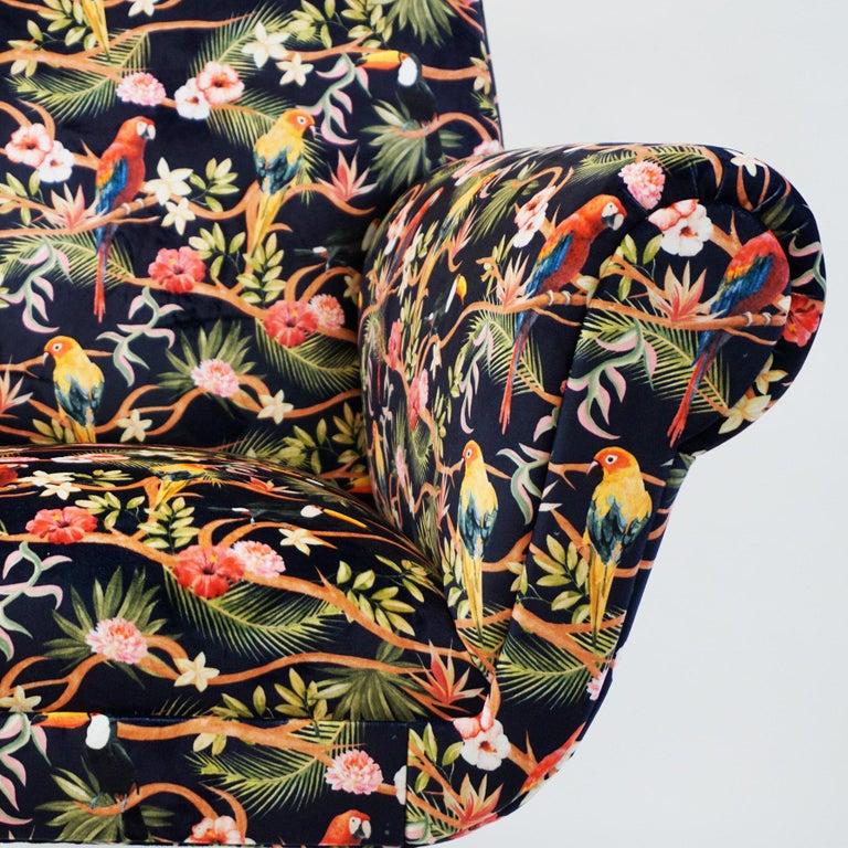 Italian Midcentury Floral Black Velvet Armchair by Gigi Radice for Minotti For Sale 3