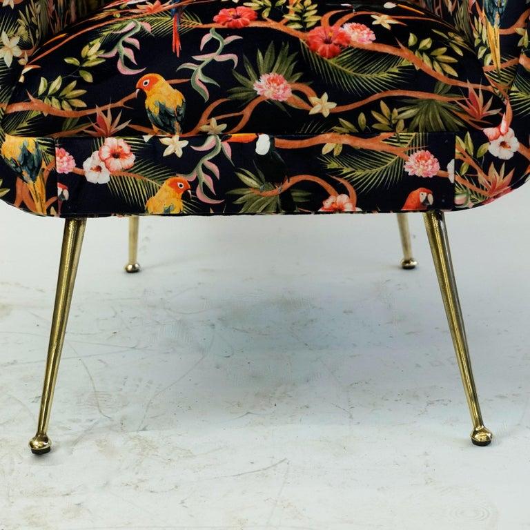 Italian Midcentury Floral Black Velvet Armchair by Gigi Radice for Minotti For Sale 4