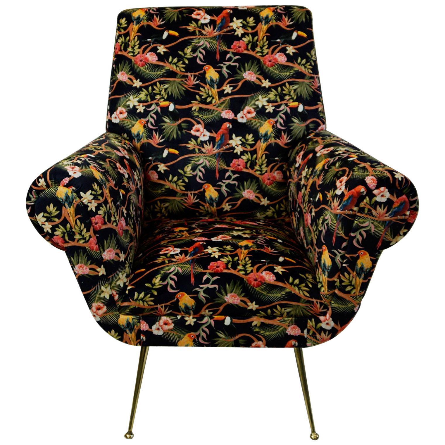 Italian Midcentury Floral Black Velvet Armchair by Gigi Radice for Minotti