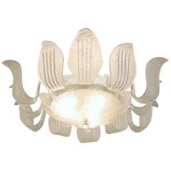 Italian Midcentury Flush Mount Chandelier with Murano Ice Glass Leaves, 1960s