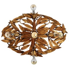 Italian Midcentury Flush Mount Light or Wall Lamp with Gilt Leaves, 1950s