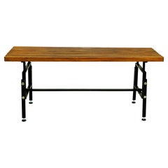 Italian Midcentury Foldable Teak and Black Lacquered Steel Bench