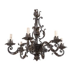 Italian Midcentury Forged-Iron Chandelier Adorned with Scrolls and Acanthus Leaf