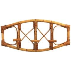 Italian Midcentury Franco Albini Style Bamboo and Rattan Wall Coat Hooks Hanger